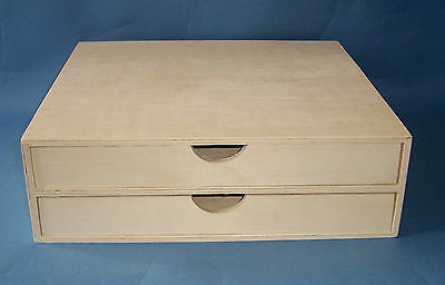 New Wooden 2 drawer unit mini chest craft scrapbooking  paper storage box