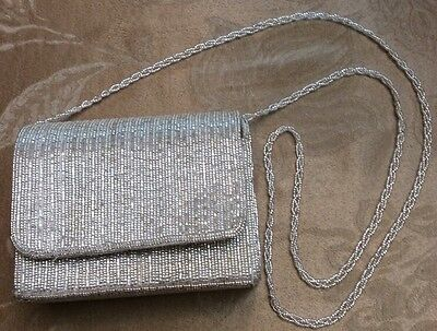 Beaded Silver Evening Bag Le Regale Purse Strap Prom Wedding Ball