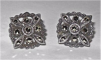Marsala Vintage Marcasite & Antiqued Sterling Silver Signed Post Earrings NEW