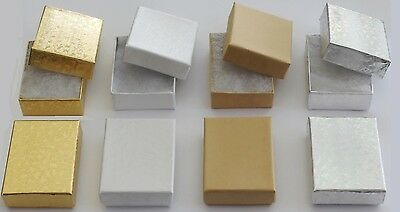 """Cotton Filled Jewelry Gift Box (Pack Of 25)  Small 2"""" x 1.5"""" x 5/8"""" Choose Color"""
