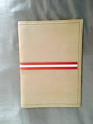 BALLY Italy Beige Leather Stripe Portfolio Bi-fold Folder Notebook Document Case