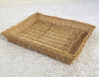 Large Vintage Rectangular Woven Wicker Ottoman Tray Basket Preowned