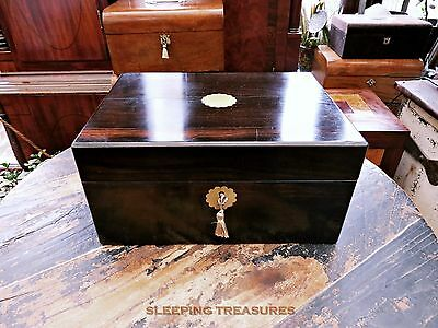 Victorian Coromandel Jewellery & Work Box. Nice Condition, Restored Interior