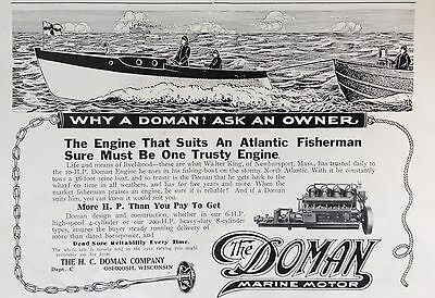 1912 Ad(F24)~The Doman Marine Motor, H.c. Doman Co. Oshkosh, Wisc.