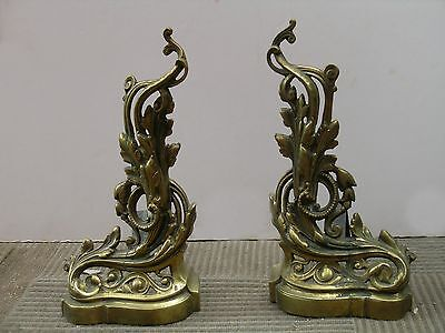 antique LouisXV brass andirons very unique