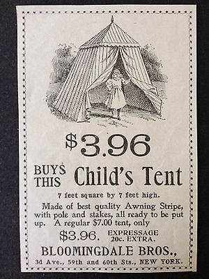 Antique 1896 Ad (1800-8)~Childs Tent At Bloomingdale Bros. Nyc.