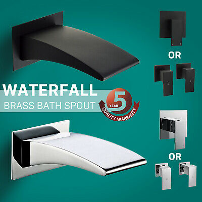 Black/Chrome Bath Waterfall Spout Mixer Taps Wall Mounted Faucet Brass Square