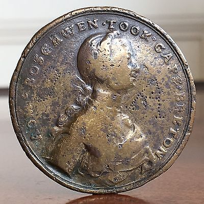 Admiral Boscawen, Capture Of Louisbourg, Canada, 1758. Rare Medal, 39.5mm.