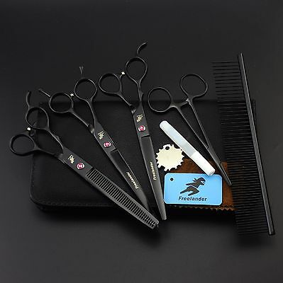 """7.0"""" Left hand Dog Grooming Scissors Pet Hair Cutting,Thinning and Curved Shear"""