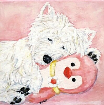 """West Highland Terrier WESTIE MATTED SQUARE PRINT Painting """"PINK PENGUIN"""" RANDALL"""