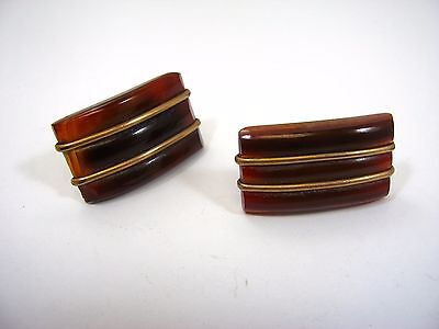 Vintage Cufflinks Cuff Links: Antique Brown Glass Beautiful Design Fixed Post