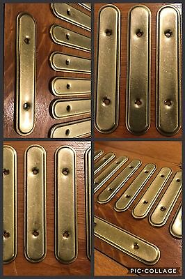 6 BACK PKATES for Handles Pulls Antique Brass Tone Cabinet Drawer Retro Vintage