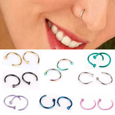 10PCS Fake Clip On Thin Small Nose Ring Hoop Body Non Piercing Studs Jewelry New