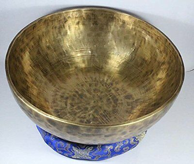 15.5 Inch Old Looking Handmade Tibetan Singing Bowl with Set By NHZ