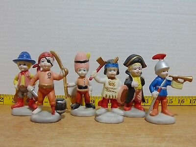 6 Vintage Lego Taiwan Ceramic Boys In Costumes Figurines 4""