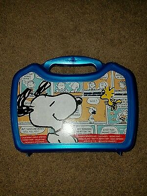 """Peanuts Snoopy & Woodstock Theme """"BLUE"""" Lunchbox Plastic Whirley Drink Works"""
