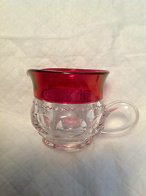 Cranberry / Clear  Lead Crystal Small Creamer Vintage
