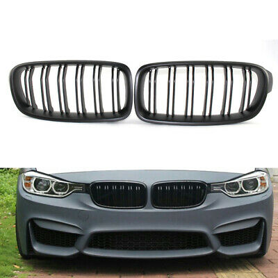 Pair Matte Black Front Grill Grille Kidney for BMW 3-Series F30 F31 F35 12-16