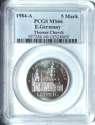 East Germany 1984-A 5 Mark, Leipzig Thomas Church, PCGS MS66
