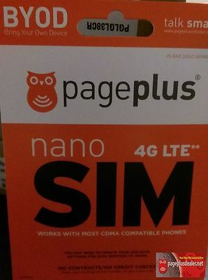 Page Plus Cellular (4G LTE) NANO SIM Card - Without Contract VZW -Page Plus NANO