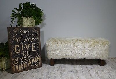 Ottoman Style Bench Seat Sofa Teak Wood Soft Fur Upholstery Cream Country Style