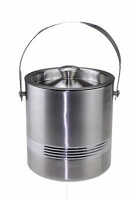Large Double Walled Stainless Steel Insulated Ice Bucket Ribbed RUBBER Seal