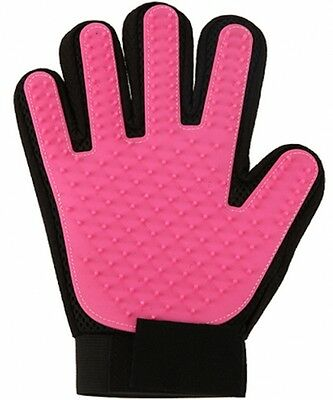 Pink Pet Dog & Cat Grooming Brush Glove Removes Dirt, Hair & Massagers