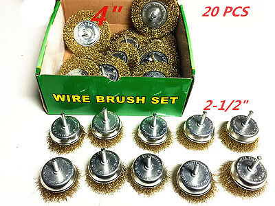 20 pcs Brass Wire Brush Wheel Assortment Brass Metal Surface Cleaning Remover