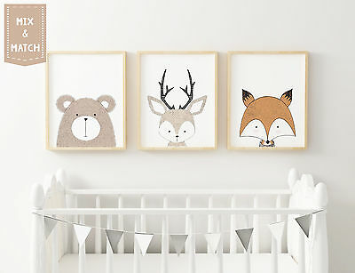 "Woodland Nursery Animals Prints Set -Modern Art 10"" x 8"", A4, A3 Various styles"