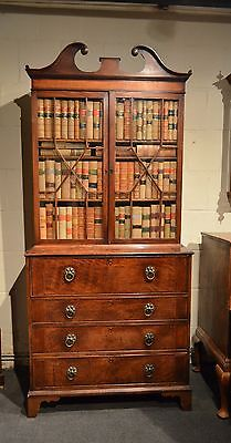 Superb Late 18Th Century Inlaid Mahogany Secretaire Bookcase. C1800