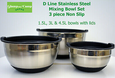 D Line Stainless Steel Mixing Bowl Set 3 piece Non Slip