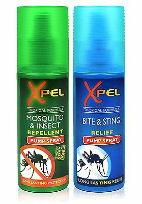 Xpel Mosquito & Insect Repellent AND Bite Sting Relief Pump Spray 2 PACKS 70ml