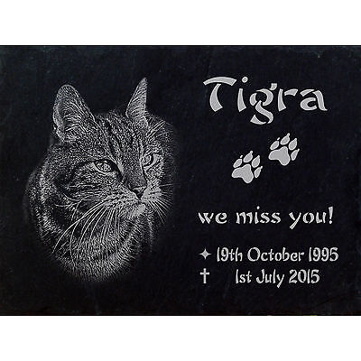 "PERSONALISED Slate MEMORIAL stones Photoengraving  Size 12"" x  8"" - Cat -020"