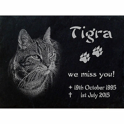 "PERSONALISED Slate MEMORIAL stones Photoengraving  Size 16"" x  10"" - Cat -020"