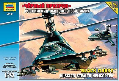 """Zvezda Model 7232 """"Black Ghost"""" Russian stealth helicopter Scale 1/72"""