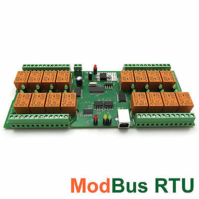 USB RELAY CONTROLLER 16 Channels - Modbus RTU, Timers, optical isolation