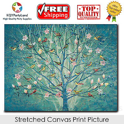 Stretched Canvas Print *Tree with Birds* Painting Wall Art Home Decor Gift