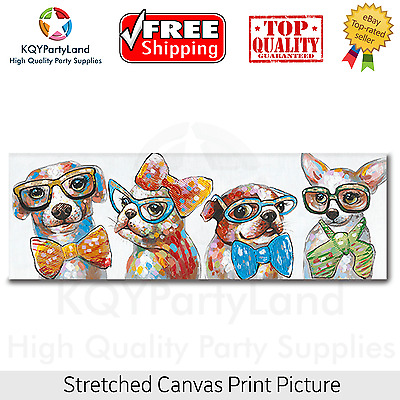 Stretched Canvas Print *Four Dogs* Painting Wall Art Home Decor Gift NEW