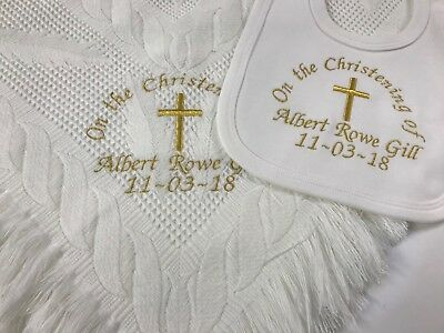 Personalised Babies Christening Shawl + Bib Gift Set