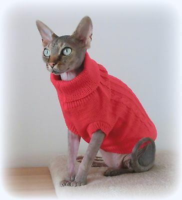 red Winter sweater coat top for a Sphynx cat - cat clothes Katzenbekleidung