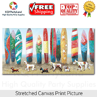 Stretched Canvas Print *Beach Dogs* Painting Wall Art Home Decor Gift NEW