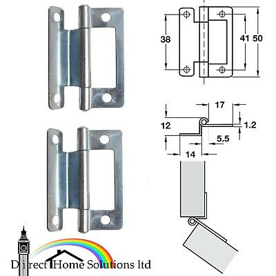 Hafele Pair of Steel Flushed Hinges Cranked 15-19mm Caravan Thicknes Zinc Plated