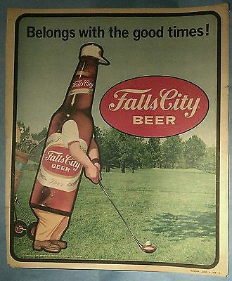 Beer Ad Print - Falls City Beer - 1970 Original Ad, Beer Bottle Playing Golf