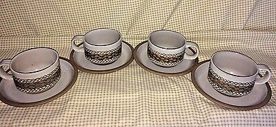4 Midwinter Stoneware Braid Pattern England Flat Cup & Saucer Set Discontinued