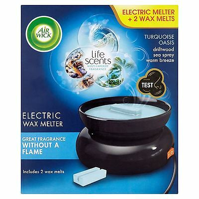 Air Wick Electric Wax Melter & 2 Wax Melts Turquoise Oasis No Flame Needed 22g