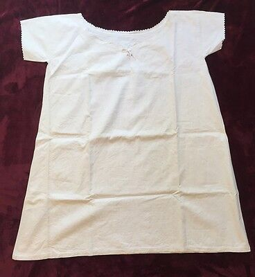 Vintage French Women's Nightshirt Cotton or Linen Scalloped Trim White