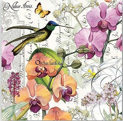 TWO (2) Cocktail Napkins for Decoupage, Paper Crafts, Floral, Orchids, Birds