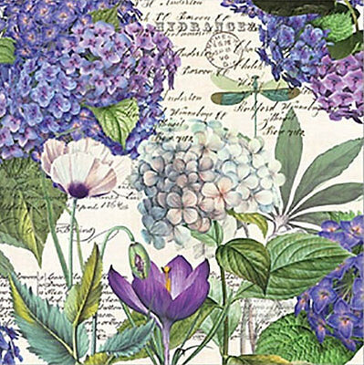 TWO (2) Hydrangea Flowers, Floral, Paper Luncheon Napkins for Paper Crafts