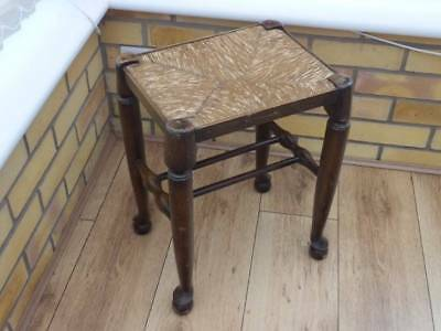 Victorian Solid Oak Foot Stool, Wicker Seat, Turned & Stretcher Supports