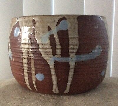 Hand Thrown Art Pottery Signed Blue & Brown Drip Planter RARE